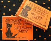 2 Vintage Halloween Boxes with Black Cats 1940's Place Cards and Invitations Empty Box