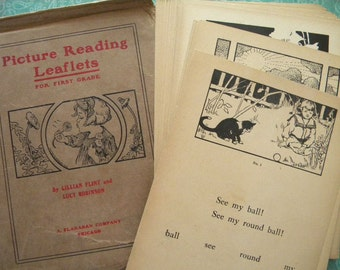 1908 Picture Reading Leaflets for First Grade Teaching Aid Flash Cards Complete and Beautiful