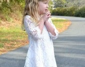 White Lace Flower Girl Dress, white Lace dress, Junior bridesmaid dress, Vintage Style Dress, Rustic wedding, beach wedding