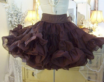 vintage rich chocolate espresso brown crinoline square dance petticoat, flouncy, fluffy, super full poof, shimmery evening skirt malco modes
