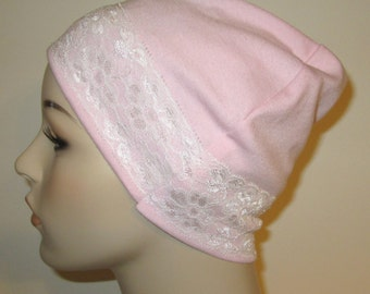 Pink Sleep Cap with White Lace Trim, Cancer Hat, Hair Loss, Lounge Cap, Chemo Hat