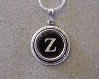Typewriter key Initial necklace BLACK LETTER Z  Typewriter Key Necklace  Initial Z serif font monogram Necklace Z