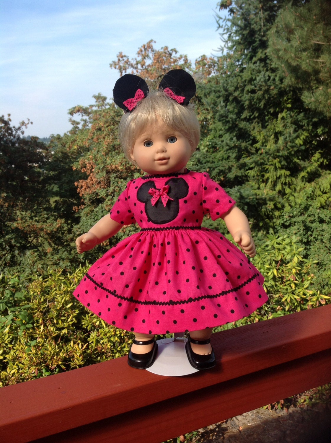 American Girl Bitty Baby Pink Dress Mickey Mouse Minnie Mouse