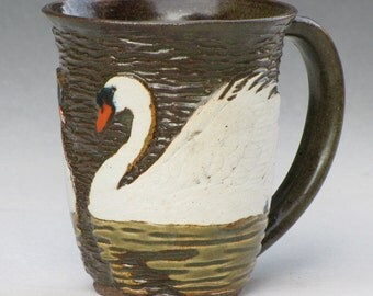 Swan Mug in Dark Stoneware with Olive Celadon Glaze 1 of 2