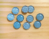 10pcs handmade assorted teal and white round glass dome cabochons / Wooden earring stud 12mm (12-0612)