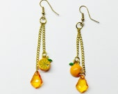 Orange Kawaii Drop Earrings