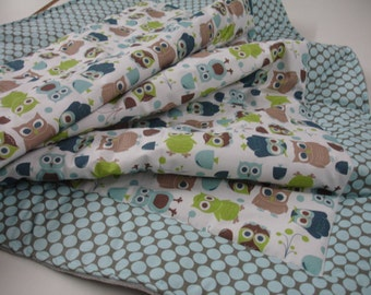 Modern Owls in Full Moon Polka Slate Baby Blanket with Minky MADE TO ORDER
