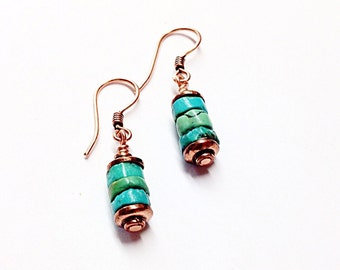 Turquoise Copper Earrings - Turquoise Earrings - Copper Jewelry - Copper Anniversary Gifts - 11th - 7th Anniversary Gift - 22nd