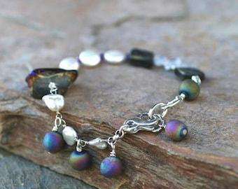 White Freshwater Pearl, Rainbow Moonstone, Abalone Shell and Purple Titanium Quartz Crystal Abstract Handmade Bracelet, Gemstone Jewelry