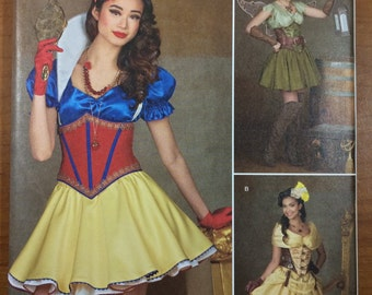 Simplicity 1093 Costume Dress Corset mini Skirt Sewing Pattern Sizes 14-16-18-20-22 Belle Snow White Tinker Bell Costume
