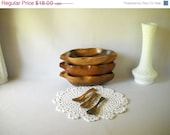 ON SALE 50% OFF Mid Century Monkey Pod Wood Bowls and Spoons Set Tiki Hawaii