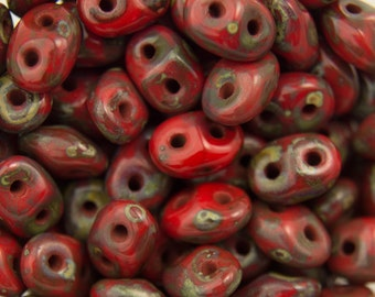 "Opaque Red Picasso SuperDuo Beads 2/5mm 2.5"" Tube 364-25-T9320/C"