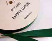Green Ribbon, Vintage Pine Green Grosgrain Ribbon 7/8 inch wide x 10 yards, Rayon Cotton Blend