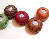 Lizbeth Size 10 Cotton Crochet Tatting Thread  Fall Collection, Orange, Burgundy and Green Thread