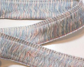Brush Fringe, Blue and Pink Pastel Brush Fringe Sewing Trim 1 1/2 inches wide x 3 yards