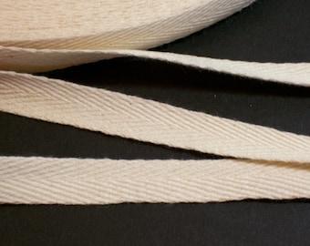 Beige Twill Tape, Beige Cotton Twill Tape Ribbon 1/2 inch wide x 10 yards precut, Beige Twill Tape