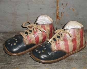 Hand Painted Americana Hard Sole Toddler Shoes