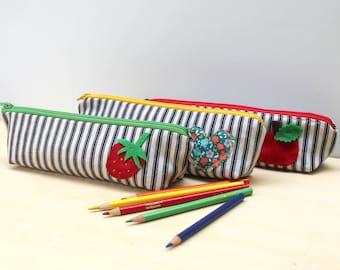 back to school pencil retro pencil pouch case school supplies in strawberry
