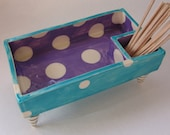 whimsical pottery Serving Dish ceramic turquoise & aqua polka dots, striped feet divided snack bowl