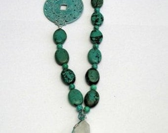 Turquoise Blue Green Crystal Necklace Free Form Wire Wrap (Free US Shipping)
