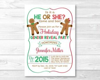 Gingerbread Holiday Gender Reveal Invitation / Gingerbread Gender Reveal Invite / Holiday Gender Reveal / PRINTABLE