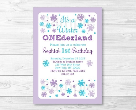 Purple snowflake winter onederland birthday invitation winter il570xn filmwisefo Gallery
