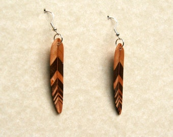 Handcarved Black Walnut and Maple Wood Leaf / Feather Earrings J150721