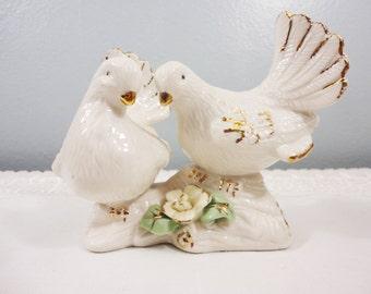 Vintage Love Dove Figurine - Wedding Cake Topper - Porcelain with Gilt Detailing
