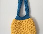 mermaid yellow and blue tears purse,minion color purse,crocodile stitch purse,crochet handmade purse,