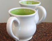His and Her Large Pottery Mugs in Lime Green - Wedding Gift - Stoneware Ceramic Coffee Mugs
