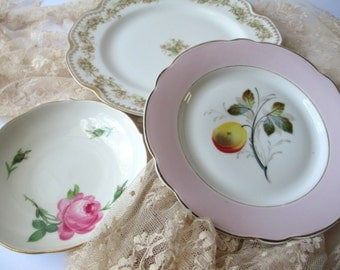 Vintage Mismatched China Plates Bowl Pink Floral Plate Bowl Collection of Three Haviland Limoges - Tea Party Style