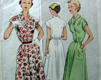 Vintage Womens Dress Pattern circa 1953 Large Size Pattern McCalls 6681 Sz 40