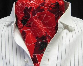 black SPIDER ascot GOTH Steampunk Victorian Gothic gentlemans black spiders spider web cravat tie jabot one size plus size mans man's unisex