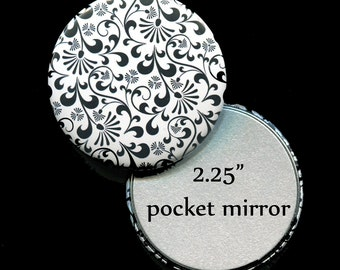 "Pocket Mirror Favors - Bridal Shower Favors - Mirror Favors - 2.25"" Pocket Mirror - Black and White"