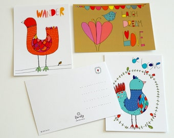 Set of 4 postcards with inspirational birds, doodles. Be brave; travel; Wander; Laugh, dream, love
