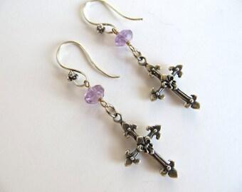 Sterling Cross Earrings With Amethyst-Christian Jewelry-sale Jewelry