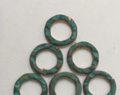 QTY 6  - 14mm Blue/Green PatinaTextured Jumprings -  Free Shipping US