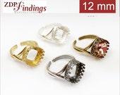 2pcs x Quality Cast 12mm Adjustable Ring Bezel Settings fit Swarovski 4470 Crystals, Choose Your Color DIY (9850V)