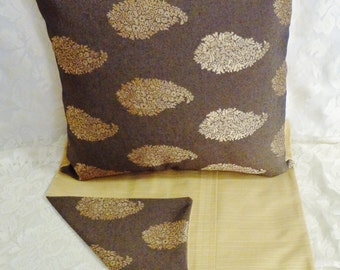 """PILLOW COVERS - Set of Two 18""""x18"""" Covers - Inserts Not Included - Grey with Gold Sheen Medallion Look - #PLW106002"""