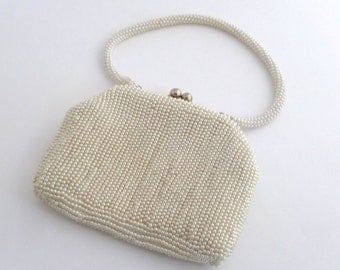 Pearl Evening Bag - vintage purse/evening bag - white pearl bag, bag with clasp and pearl handle