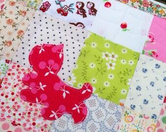 Red Cat Mini Quilt Cat Mug Rug Cat Applique Cute Mug Rug Cat Snack Mat Appliqué Quilt Cat Table Mat Nightstand Mat