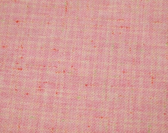 vintage 60s nubby acrylic fabric in a great pink colour with orange and white accents, 1 yard, 3 inches EXTRA WIDE