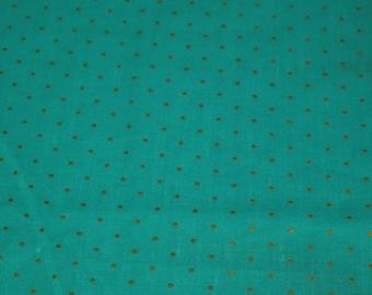 SALE vintage 80s teal and metallic gold polka dot fabric, 1 yard
