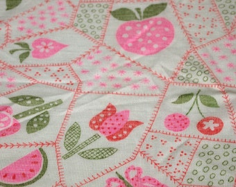 """vintage 70s knit fabric, featuring kawaii flower and fruit faux patchwork print, 54"""" x 35"""""""