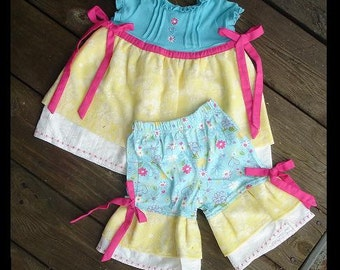 New Girls 2 piece Skirt Top with Capris-----Ready to ship Size 24 Months