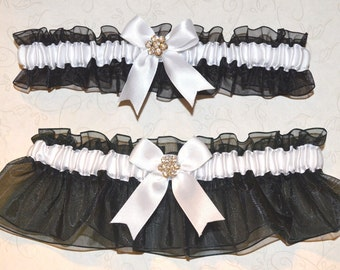 Black & White Rhinestone Wedding Garter Set