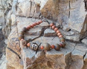 Buddha Bracelet with Reclaimed Redwood and Fumed Agate Druzy
