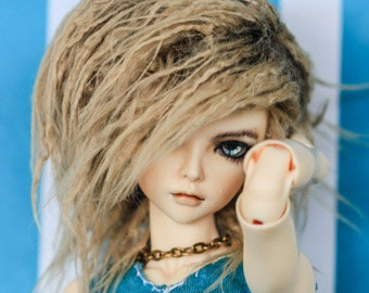 Akasarushi Rusty Tan Color Fur Wig Made for abjd doll size SD MSD tiny yosd and puki