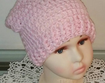 Little Girls Slouchy Beanie in Pink and White