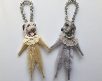 IRISH WOLFHOUND ornaments dog ORNAMENTS vintage style chenille ornaments set of 2